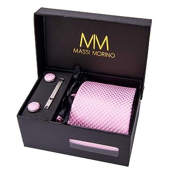 Massi Morino Hombre Designer Corbata - Caja Conjunto con pañuelo, Gemelos y Aguja de Corbata, Ropa y Accesorios de Hombre (Rosa Cuadros): Amazon.es: ...