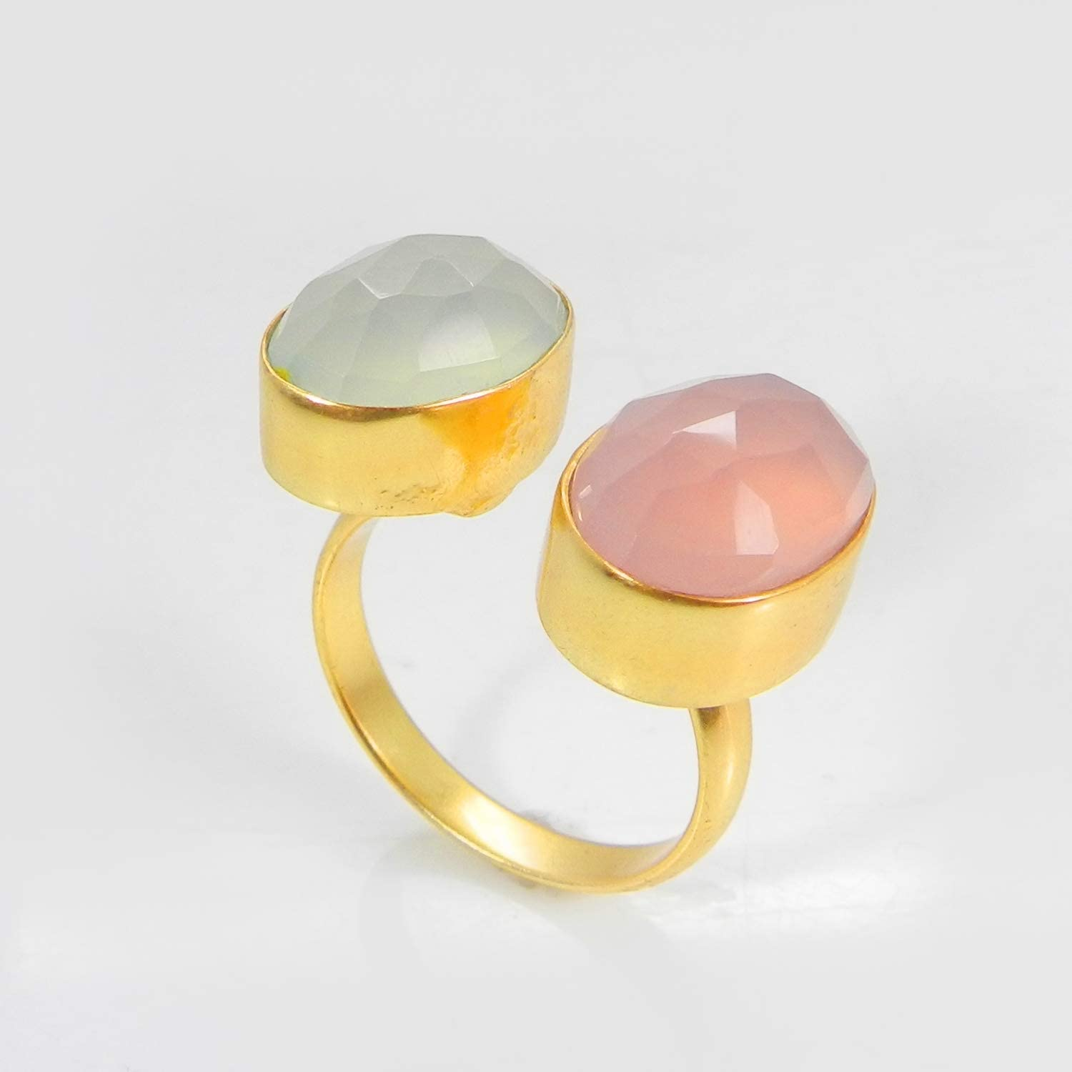 Pink /& Aqua Chalcedony  White Agate  Green Onyx  Labradorite Gemstone Ring Pear Shape Ring Gold Plated Adjustable Ring Jewelry P6PR-5
