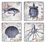 Certified International Coastal Postcards Dinner Plate, 10.5-Inch, Assorted Designs, Set of 4