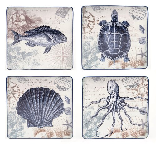Certified International Coastal Postcards Dinner Plate, 10.5-Inch, Assorted Designs, Set of 4 ()