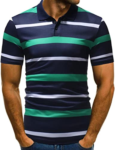 WUAI Clearance Men's Short Striped Sleeves Polo Half Cardigans Patchwork Casual T- Shirt