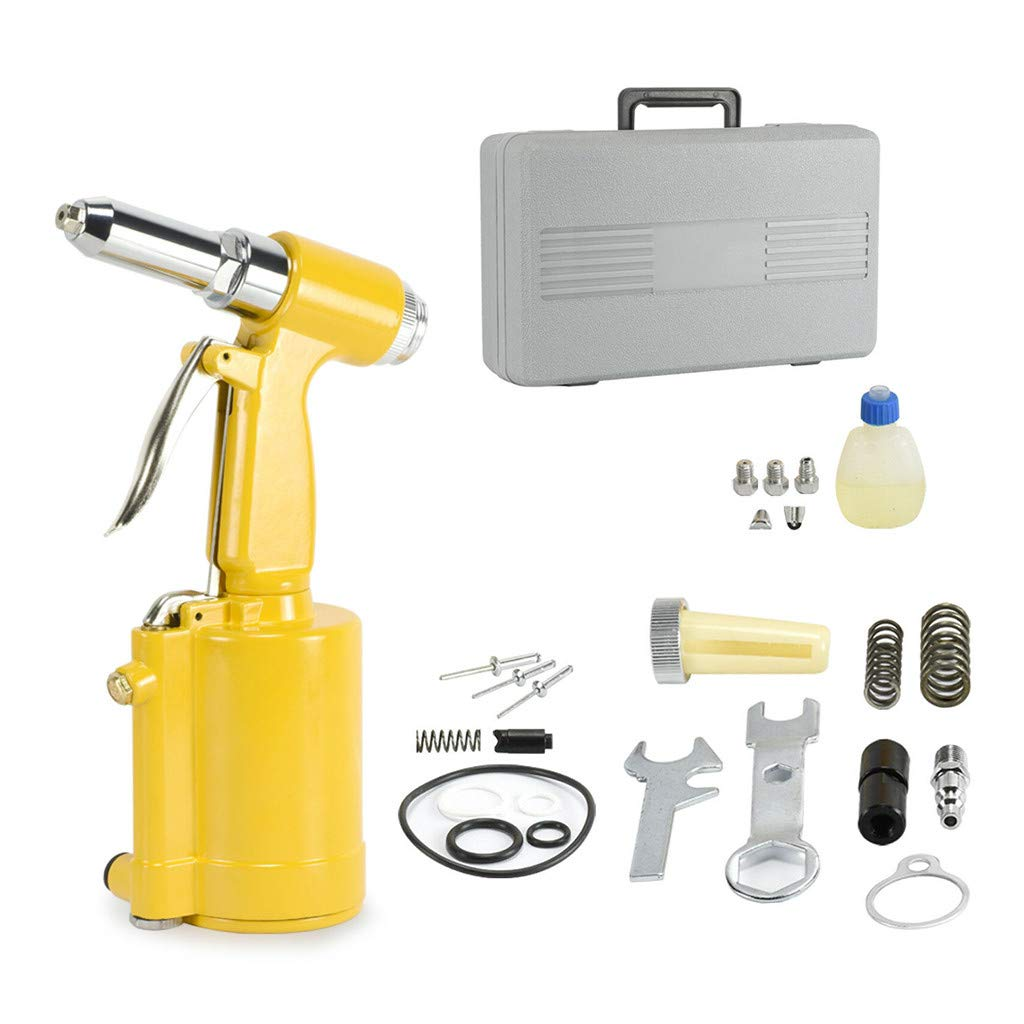 Industrial Pneumatic Air Rivet Gun,Pneumatic Air Hydraulic Pop Rivet Gun Riveter Riveting Tool W/Case Kit 3/16'', 5/32'', 1/8'', 3/32'' (Yellow) by Aurorax 1