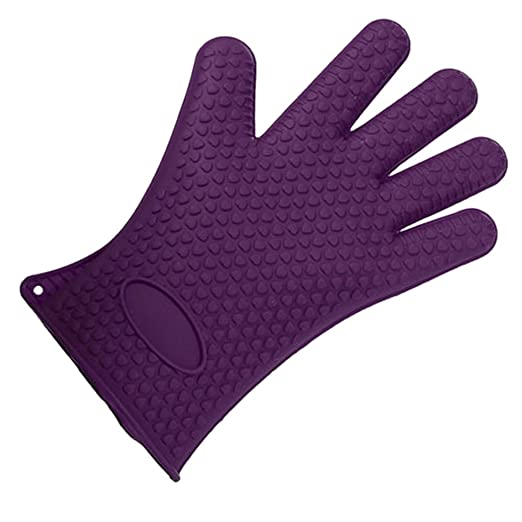 Imported Silicone Glove Nonslip Waterproof Mitts Heat Hot Resistant Holder-Violet