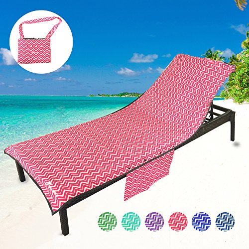 Terry Lounge Cover - YOULERBU Thickened Beach Chair Pool Towels, Swimming Pool Chaise Lounge Cover Towels with Pillow and Side Pockets Holidays Sunbathing Quick Drying Terry Towels