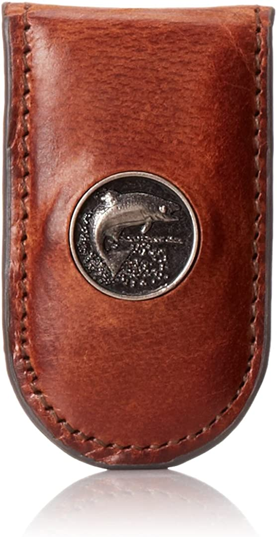 Webers Leathers Mens Caramel Brown Billfold with Trout Concho