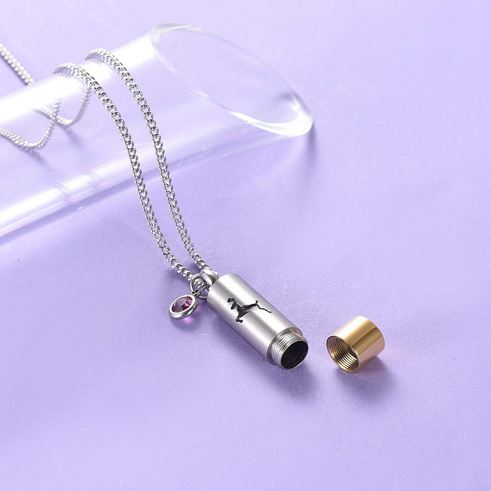Yinplsmemory Cremation Jewelry Deer Cylinder Urn Necklace for Ashes Keepsake Memorial Jewelry Memorial Gift