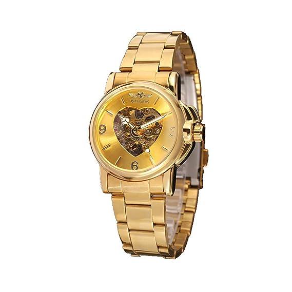 Reloj para Mujer, con Esqueleto automático, Dorado, Pulsera de Acero Inoxidable, Resistente