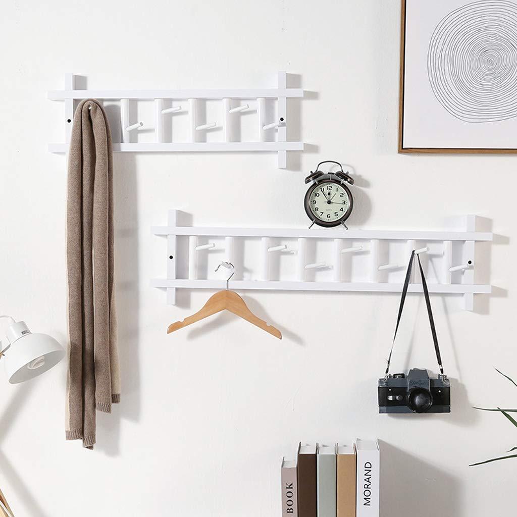 Perchero r/ústico decorativo de dise/ño moderno Perchas de madera montadas en la pared blancas percha para colgar la ropa bata de toalla clave para entrada ba/ño sala de estar dormitorio cocina,6hooks