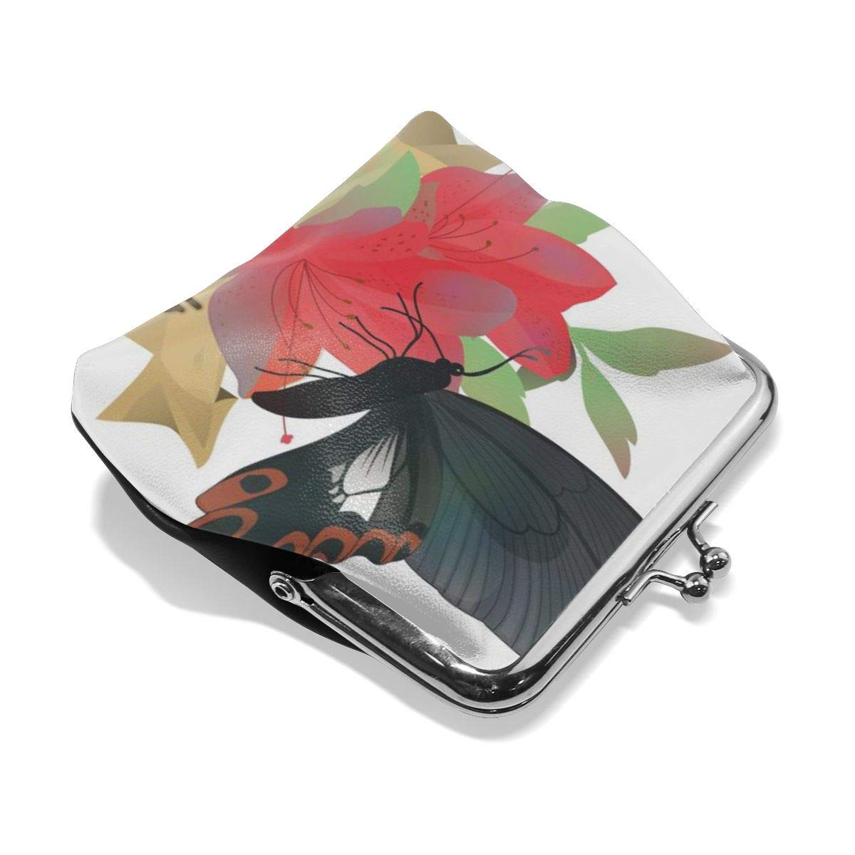 Retro Flower And Butterfly Credit Cards Buckle Coin Purse For Womens