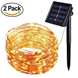 [2 Pack] BOLWEO Solar Powered String Lights,Solar Fairy Lights,10 Meters/33Ft 100LEDS/8 Modes,Waterproof Copper Wire Lighting for Indoor,Outdoor,Wedding,Patio,Home,Garden Decoration (Warm White)