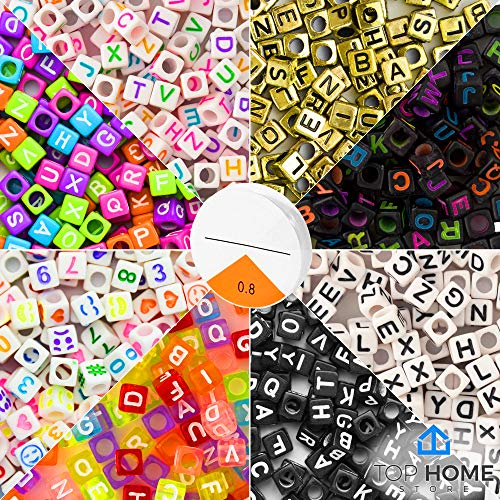 Top Home Store 1600 Pieces 8 Color Letter Beads Acrylic