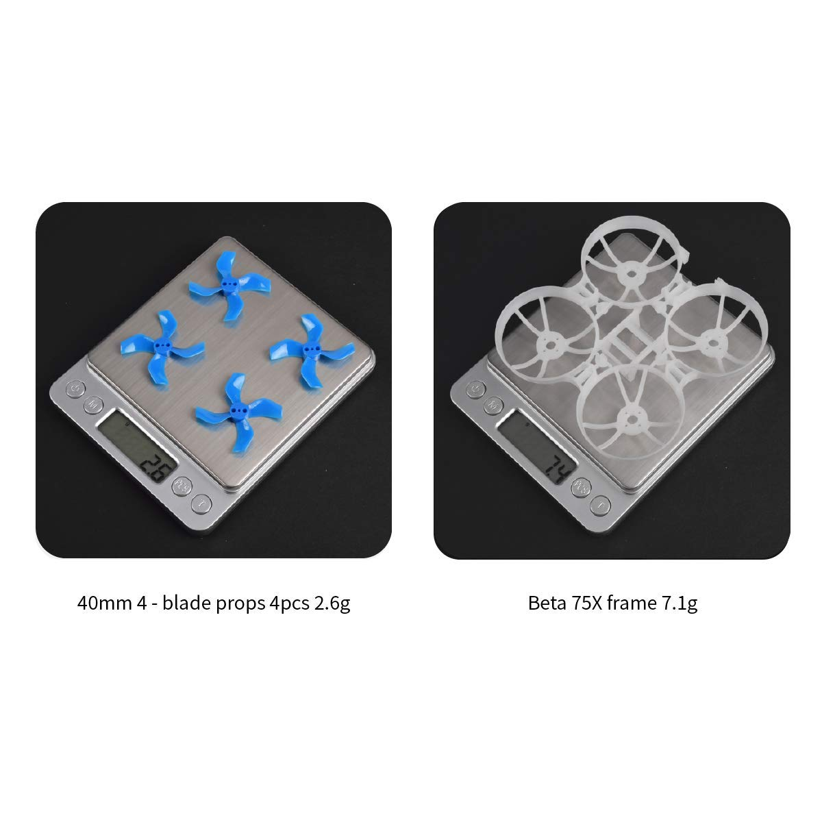 BETAFPV Beta75X 3S Whoop Frame Kit Black with 2 Sets 40mm 4-Blade Props 1.5mm Shaft Blue for 1103 Brushless Motor 75mm 3S Whoop Drone Like Beta75X BNF