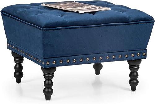 Adeco Modern Mid-Century Fabric Ottoman Footstool