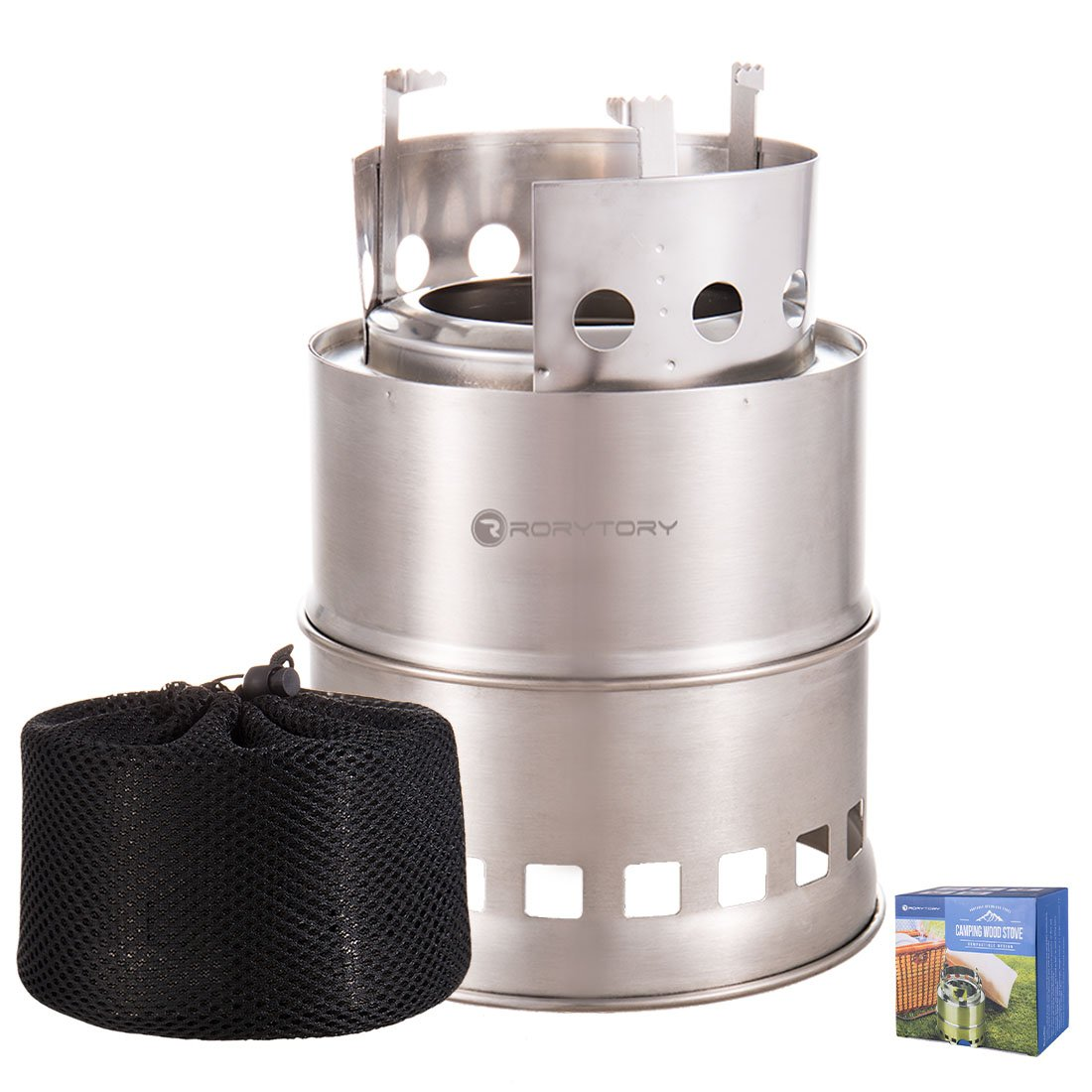 RoryTory Portable Stainless Steel Camping Gasifier Twig Stove - Compactible Design - Wood Backpacking Stove Camp Mini Portable Woodburning Fire Lightweight Stove Set - Compact for Survival Kit
