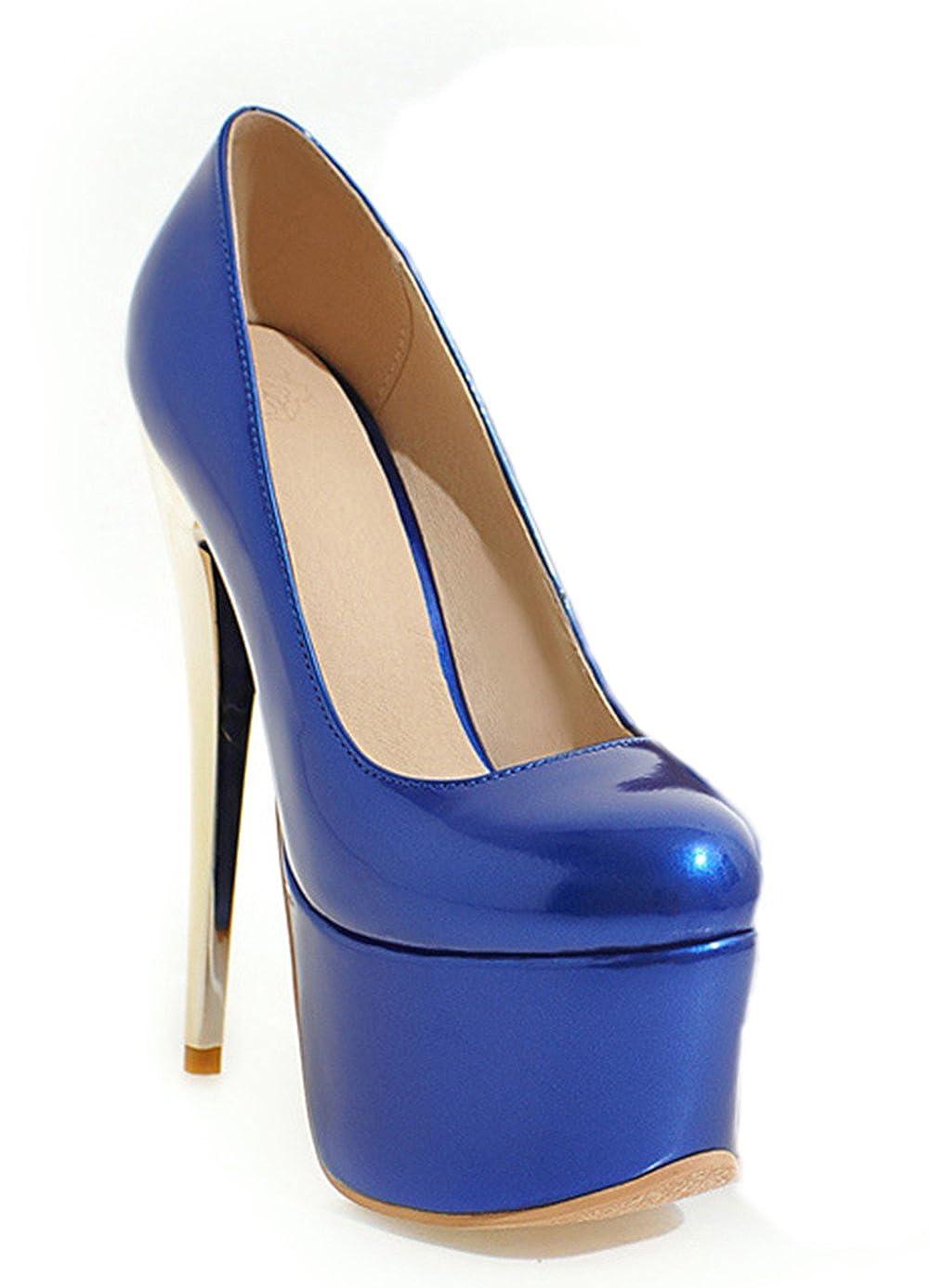 ba0f2395ae952e Aisun Damen Sexy High Heels Lackleder Runde Zehen Plateau Pumps  Amazon.de   Schuhe   Handtaschen