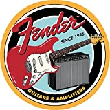 Fender Round Guitars & Amplifier Tin Sign