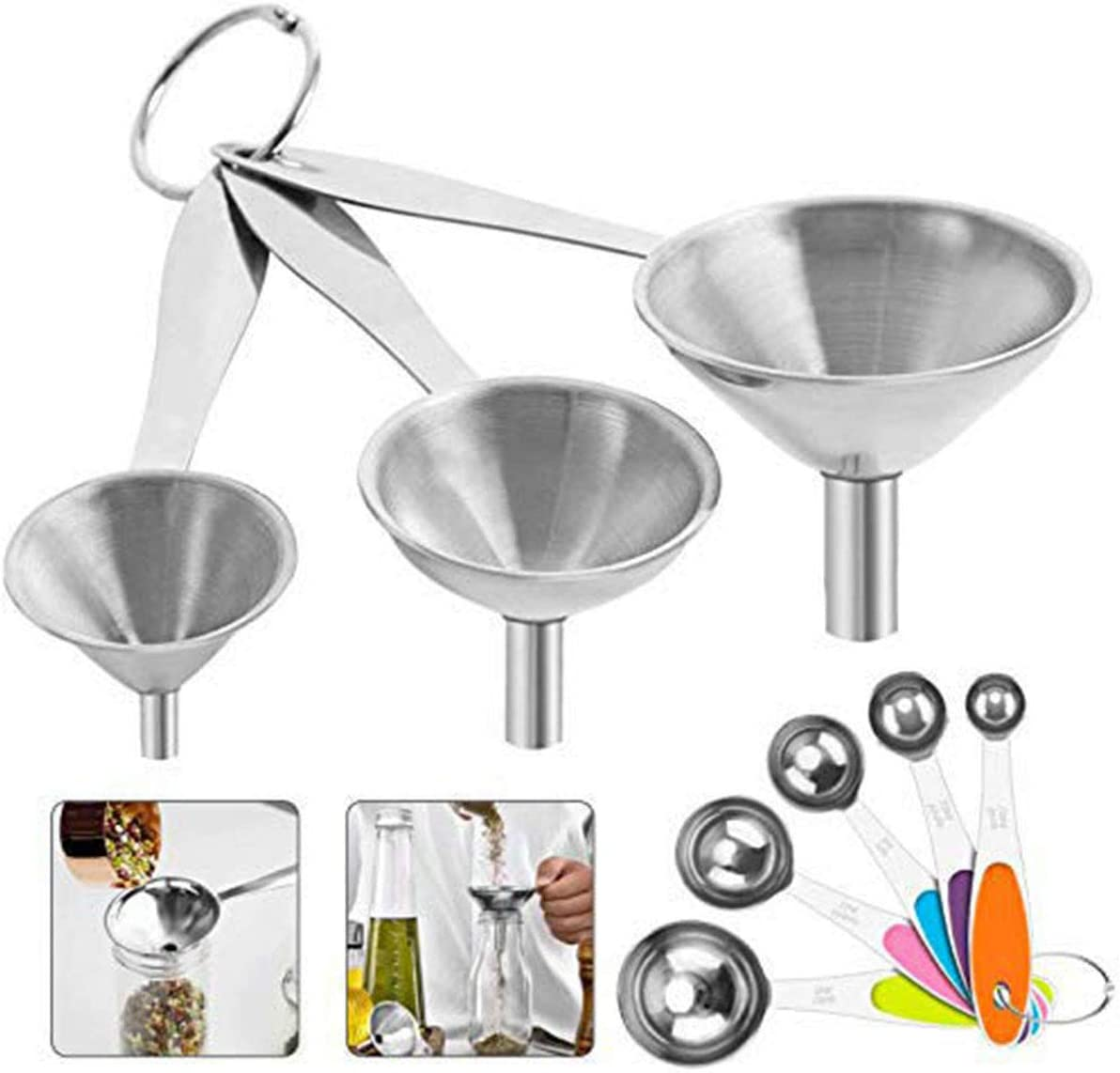 FPVERA Kitchen Funnels Mini Funnel 3 Pcs Stainless Steel Funnel Set and 5 Measuring Spoons Mental Strainer Funnel With Long Handle For Fluid Oil Powder Beans Jar Flask Powder