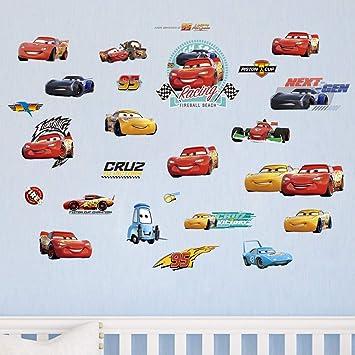 decalmile Voitures de Courses Stickers Muraux Chambre Bébé Garcon Enfants  Autocollant Décoration Murale