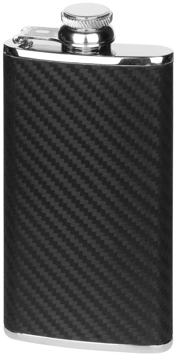 Black/Silver 4oz Captive Top Carbon Fibre Effect Hip Flask by Orton West