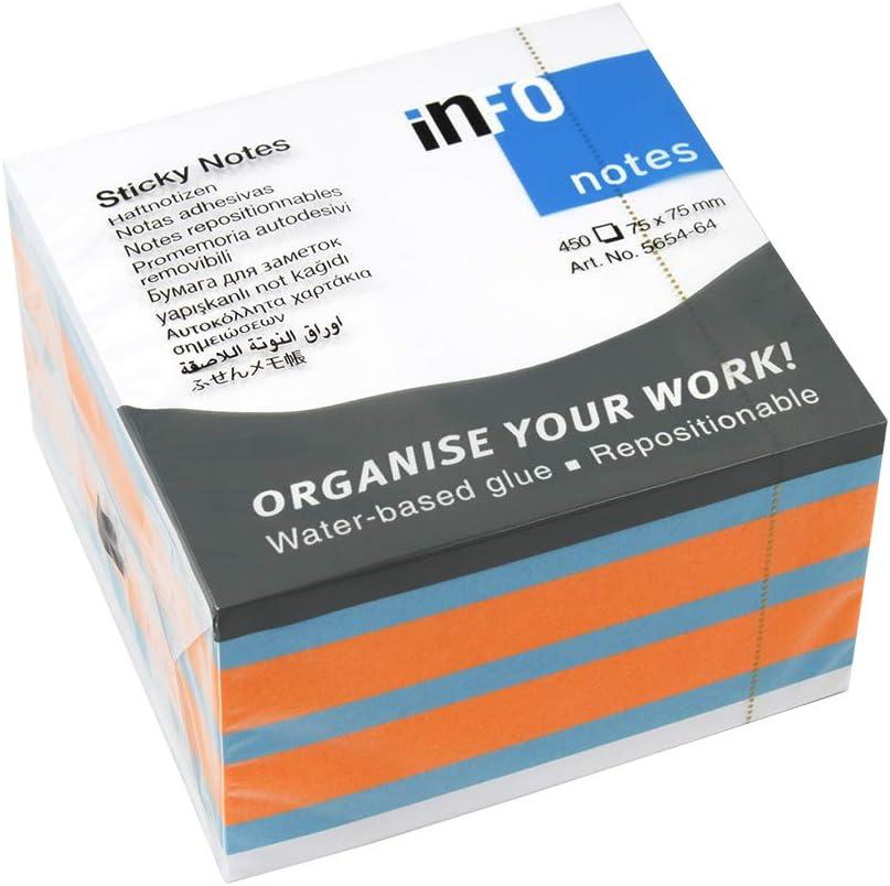 Dados de colores surtidos, 75 x 75 mm, 450 hojas, 12 unidades en caja de cartón.: Amazon.es: Oficina y papelería