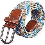 Irypulse Cinturón Trenzado elástica de Lona Hombres Mujeres Cuero de PU Hebilla de aleación Hecha elásticos Tela para…