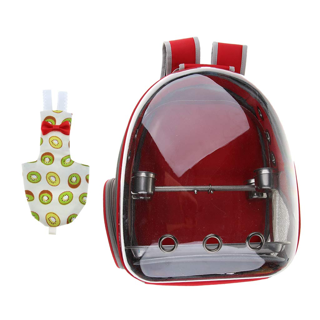 Kesoto Clear View Transport Bag Pet Parred Outdoor Travel Backpack, with Reusable Bird Nappy Diaper Urine Pad Kiwi Pattern Cockatiels Canary (Red)