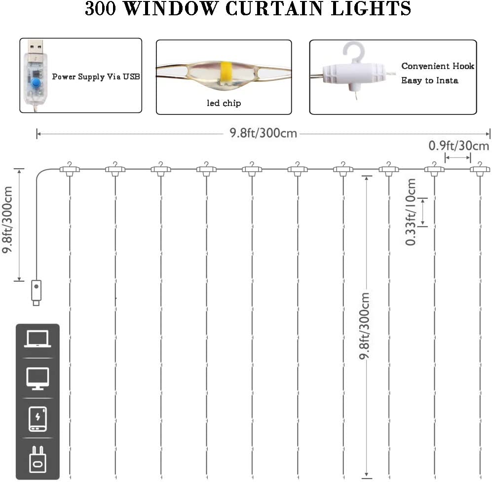 Warm White Curtain Lights 300 Led Window Curtain String Light with 8 Modes Remote Control Curtain Fairy Lights USB Powered for Christmas Party Wedding Bedroom Home Garden Window Decor