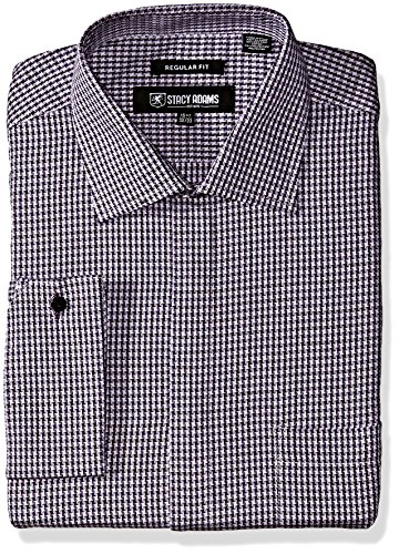 Stacy Adams Men's Big and Tall Textured Houndstooth Classic Fit Dress Shirt, Lavender, 19