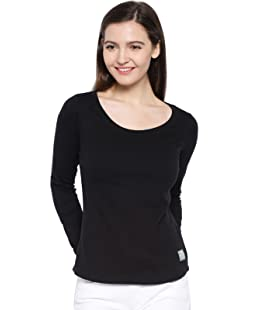 Cult Fiction Black Color Full Sleeves Scoop Neck Cotton Solid Tshirt For Women's