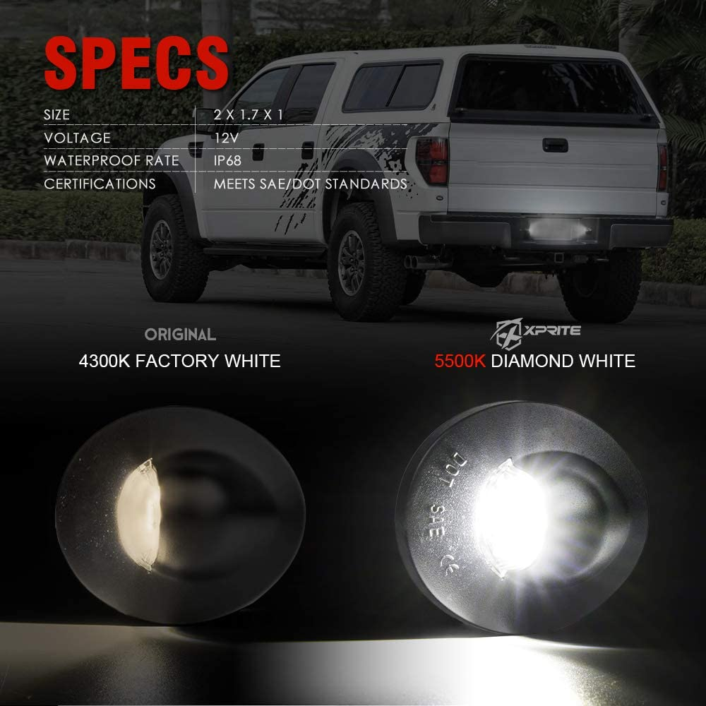 Xprite White LED License Plate Light Assembly Replacement Tag Lamp for 1990-2014 Ford F-150 Superduty Ranger Explorer Bronco Excursion Expedition Pickup Truck 1990-1999 F-250 F-350