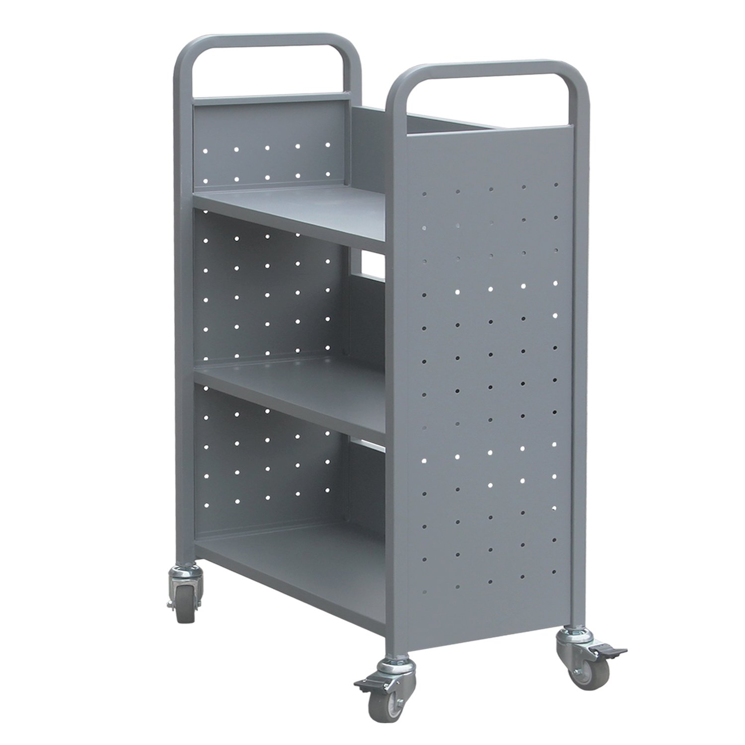 Rolling Library Book Cart Single Sided Flat Shelves with Lockable Wheels,200lbs Capacity (Grey)