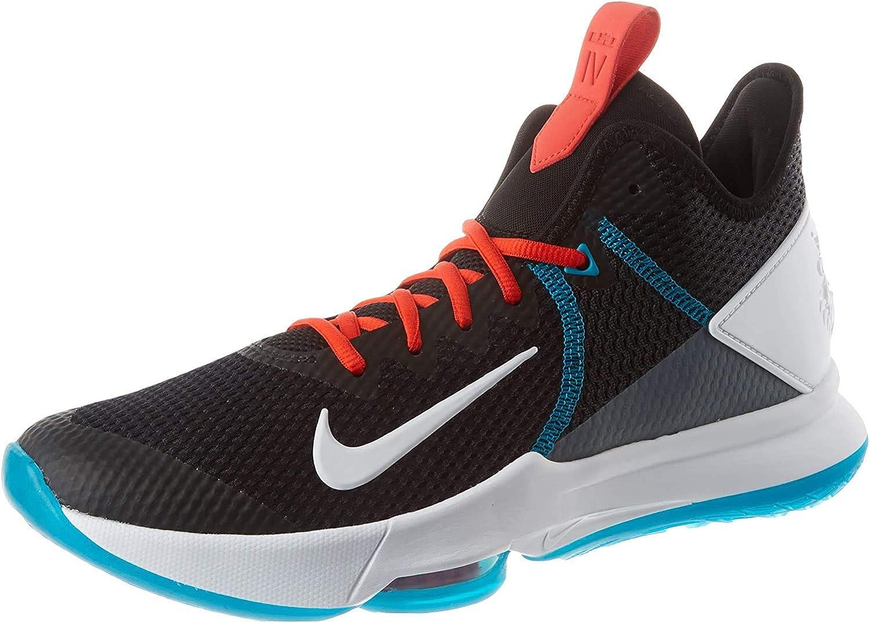 Nike Lebron Witness Iv, Chaussure de Basketball Homme Noir Blanc Rouge Chille Bleu Verre Gris Fumé Rouge Uni