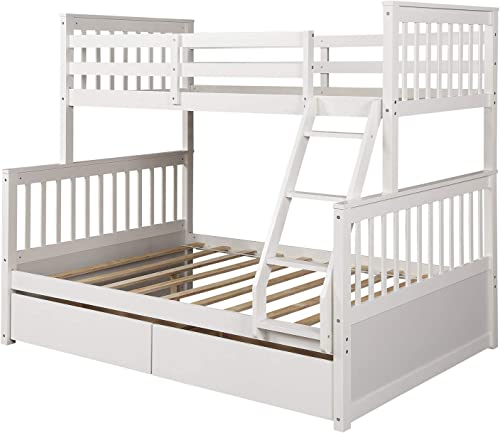 Harper Bright Designs Twin-Over-Full Bunk Bed with Ladders and Two Storage Drawers, White