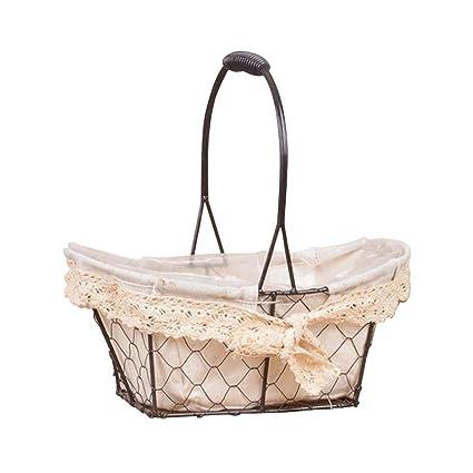 Bloomma rústicas cestas de hierro inspiradas en la vendimia con manijas de arpillera forro de color