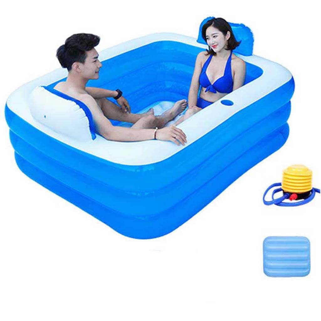 1.8m with backrest - electric pump Global- Eco PVC Without Cover Inflatable Adult Folding Bathtub For Indoor Outdoor Use (Size   1.5m ordinary models - electric pump)