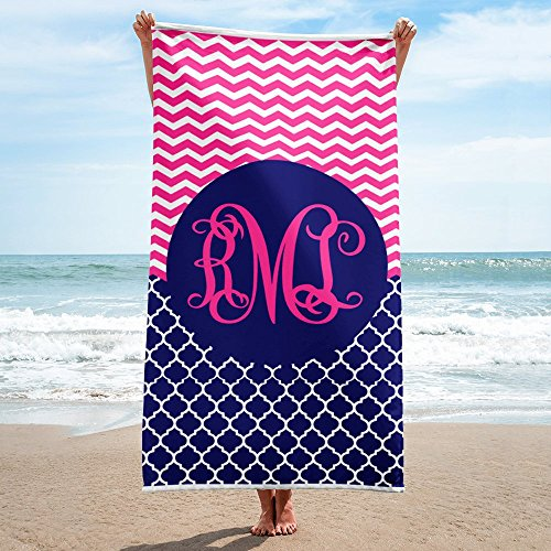 Arkansas Made Personalized Monogram Quatrefoil Chevron Beach Towel 30x60 Exclusive ()