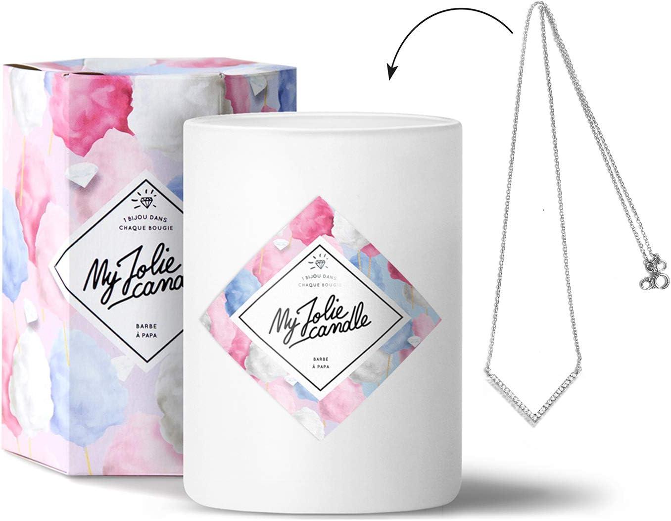 My Jolie Candle- Vela con aroma a algodón de azúcar y collar en su ...
