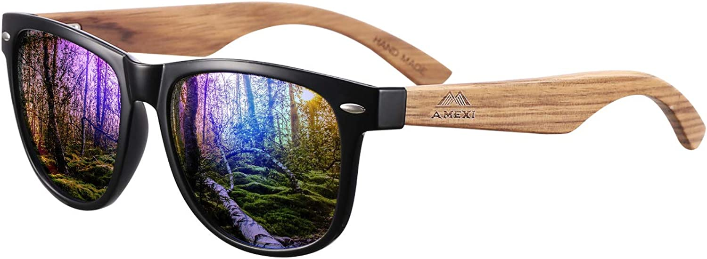 GreenTreen Gafas de Sol Polarizadas Hombre y Mujere, UV400 Protection, Gafas Ligeras con Patillas de Madera