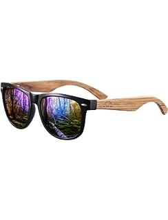 Navaris Gafas de sol UV400 - Gafas de madera para hombre y ...