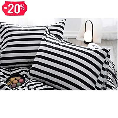 CLOTHKNOW Striped Pillowcases Cotton Standard Black and White Pillow Covers Ticking Set of 2 Bed Pillow Cases Envelope Closure Black Pillow Shams for Boys Girls: Home & Kitchen
