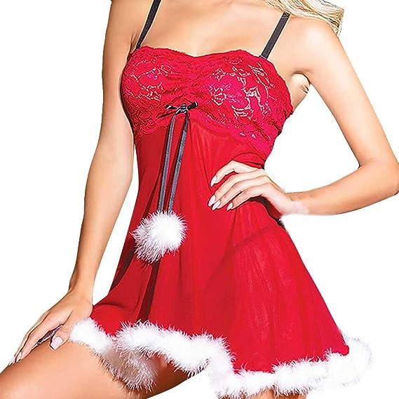 Longra Mujeres Sexy Vestido de Navidad Pijamas Lencería Ropa Interior sin Mangas Sexy