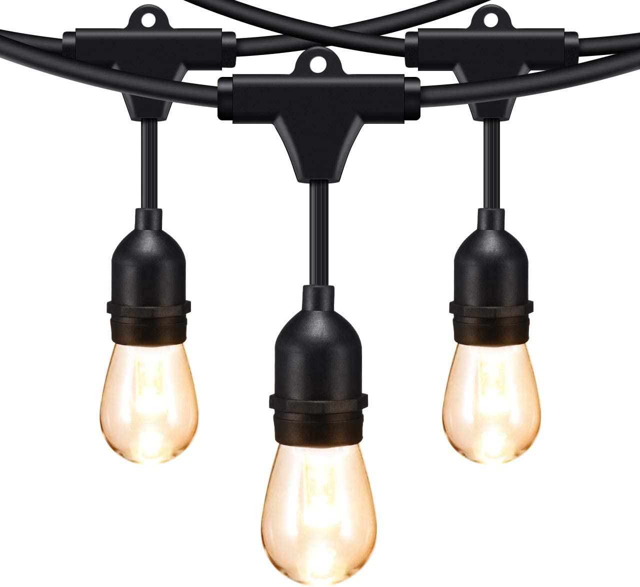 Mpow 2-Pack 49ft LED String Lights, 15 x E26 Hanging Sockets, Waterproof Dimmable 0.9W Vintage Bulbs 2 Spare , Connectable Edison Outdoor String Lights Create Cafe Ambience for Patio Backyard