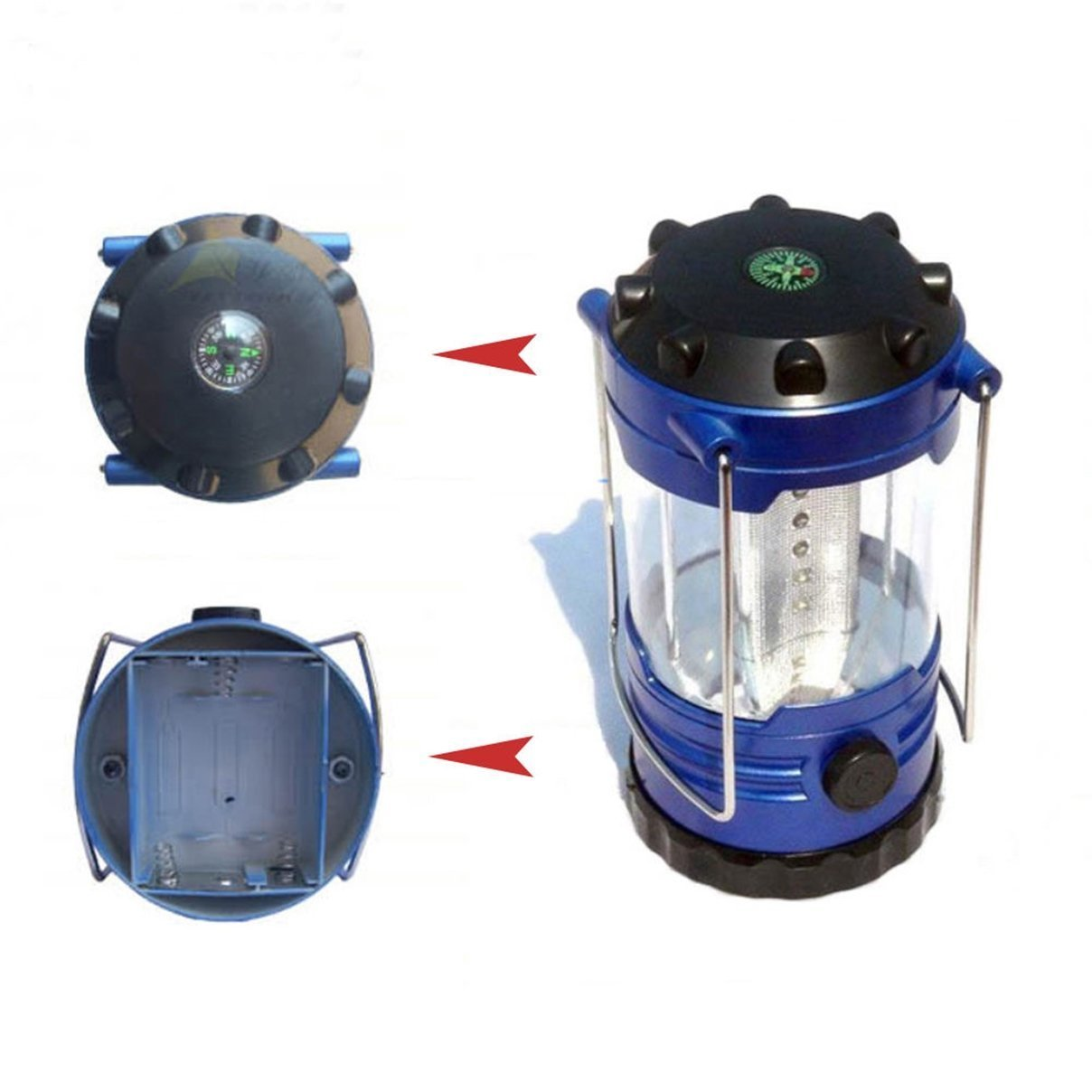 Fiduciary Modern 12x LED Nightlight Lantern Shockproof Portable Light Desk Lamp Color Blue Metallic or Red with Compass Thailand .