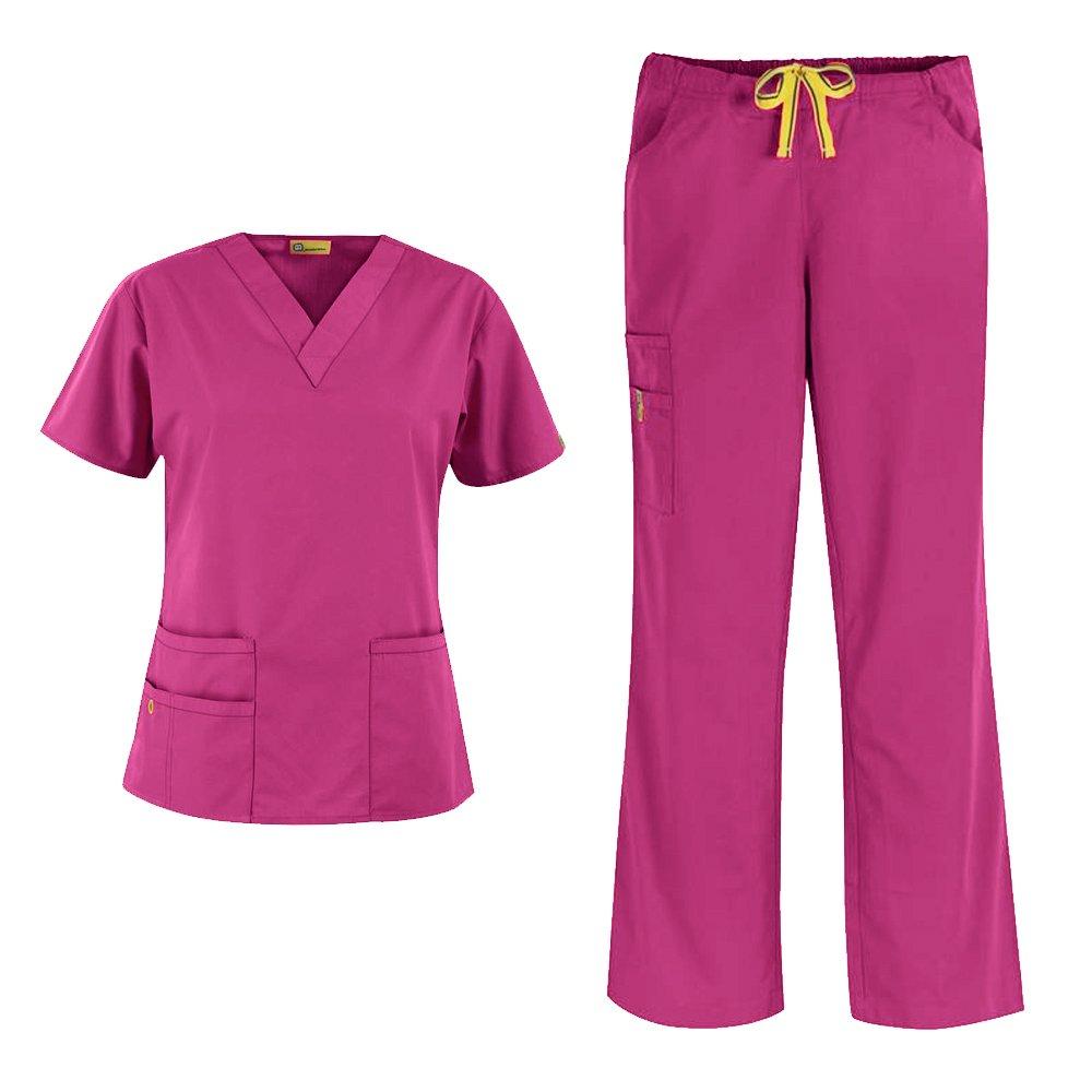 WonderWink Origins Women's 6016 Bravo Top & 5026 Romeo Pant Medical Uniform Scrub Set (Hot Pink - Large)