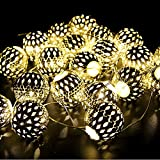 Goodia Battery Operated 10.49Ft 30er Gold Moroccan Orb LED Fairy Lights Curtain Light (Iron ball diameter: 0.98 inches) --- Ideal Wedding, Christmas Tree, Halloween, Party Globe String Lights
