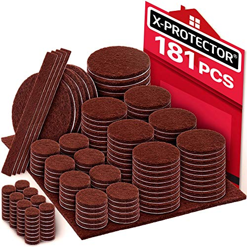 X-PROTECTOR Premium Ultra Large Pack Felt Furniture Pads 181 Piece! Felt Pads Furniture Feet All Sizes - Your Best Wood Floor Protectors. Protect Your Hardwood Flooring with 100% Satisfaction! (Best Floor Protectors For Hardwood Flooring)