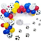 Elepplrty Dog Paw Cow Stripe Balloon Red Yellow Blue Latex Balloon 16ft Arch for Patrol Themed Baby Bath birthday Party Supplies Pack 100