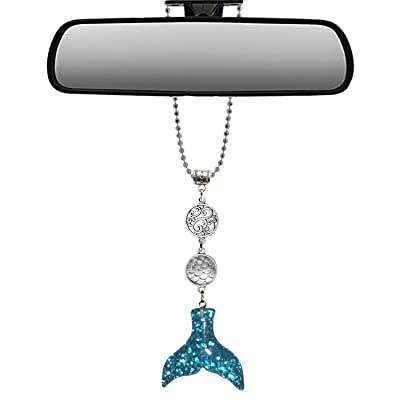 Mossy Cabin Handmade Bling Assorted Mirror Car Charm Hanger Dream Catcher Ornament with Adjustable Chain (Glitter Mermaid) (Silver and Blue Glitter): Automotive