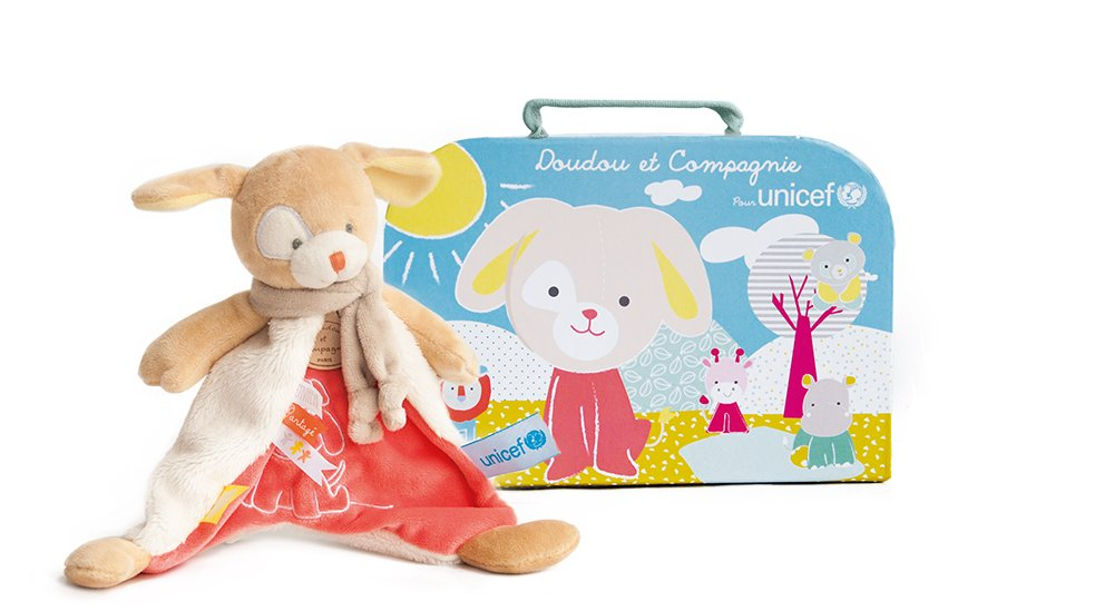 Doudou et Compagnie UNICEF Doudou perro Rose Talla:22 cm: Amazon.es: Bebé