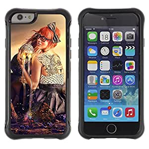 Hybrid Anti-Shock Defend Case for Apple iPhone 6 4.7 Inch / Abstract Skull & Tattoo Art